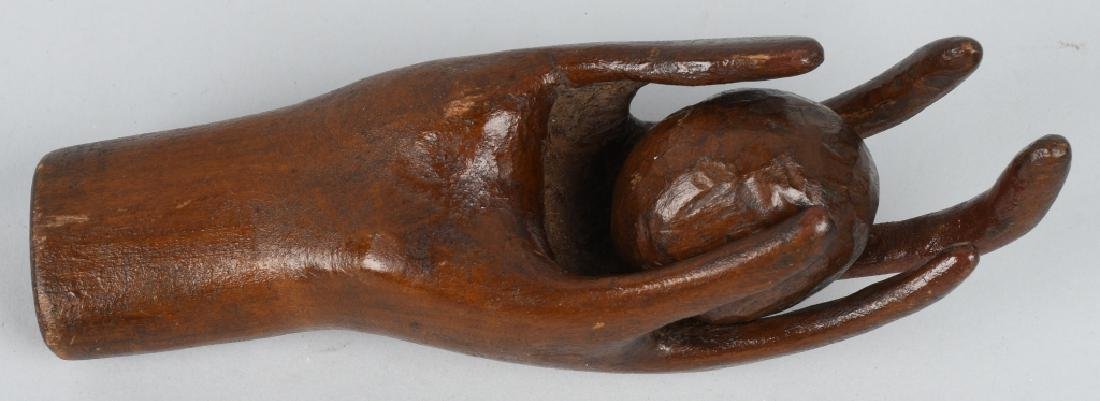 FOLK ART CARVED HAND w/ BALL Dated 1910 - 4