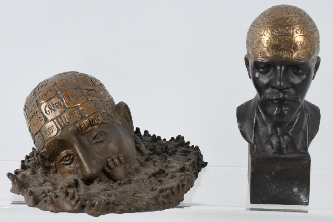 2- UNUSUAL BRONZES SHOWING BRAINS