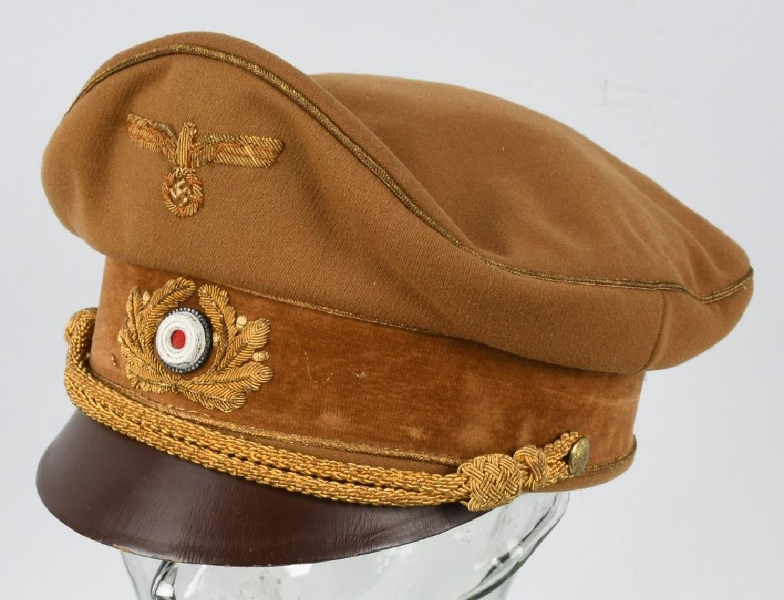 WWI NAZI BROWN VISOR HIGH LEADER CAP