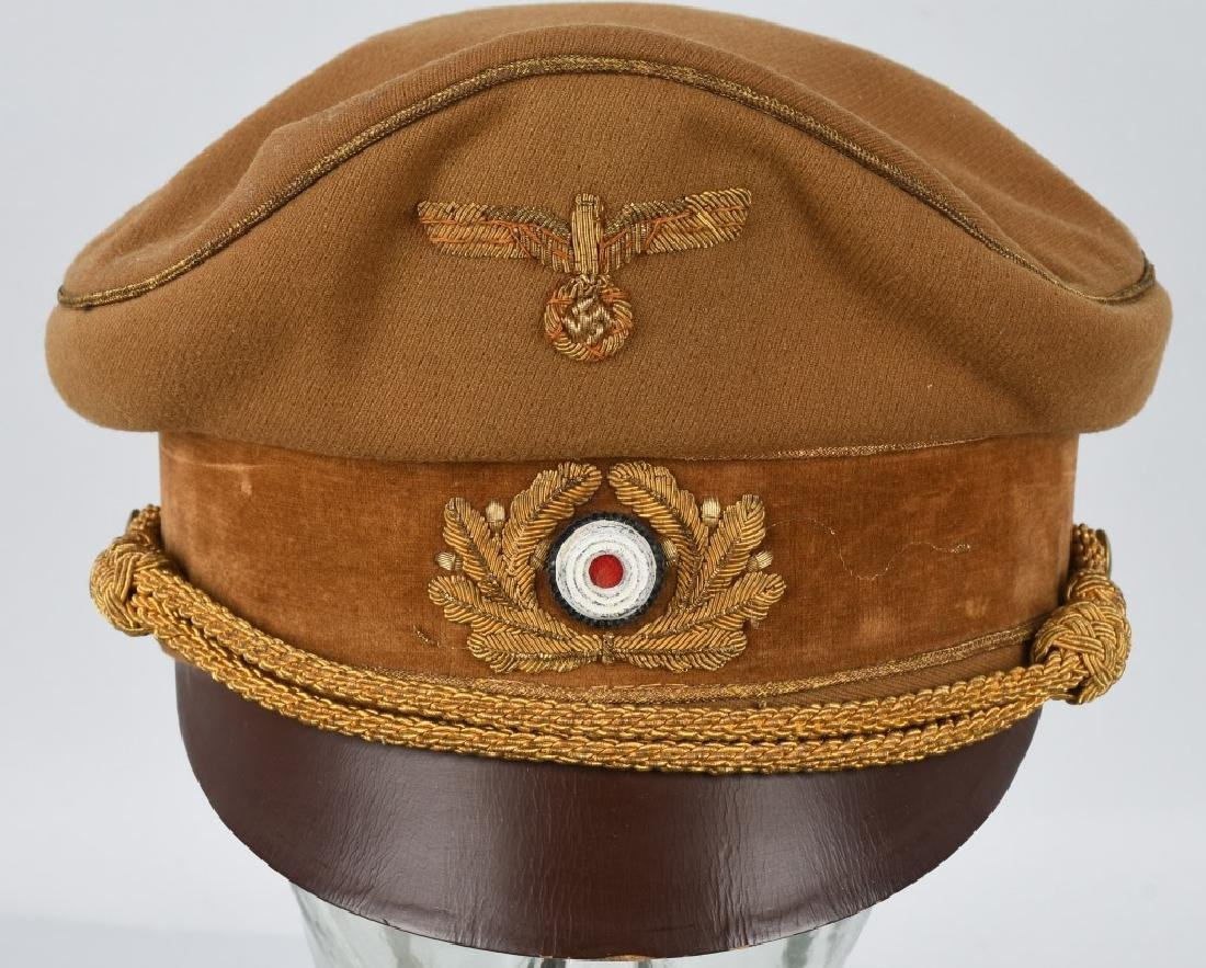 WWI NAZI BROWN VISOR HIGH LEADER CAP - 2