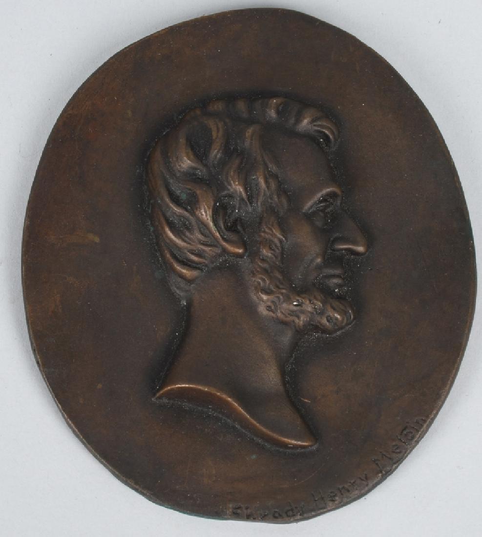 BRONZE ABRAHAM LINCOLN PLAQUE, HENRY SHRADY