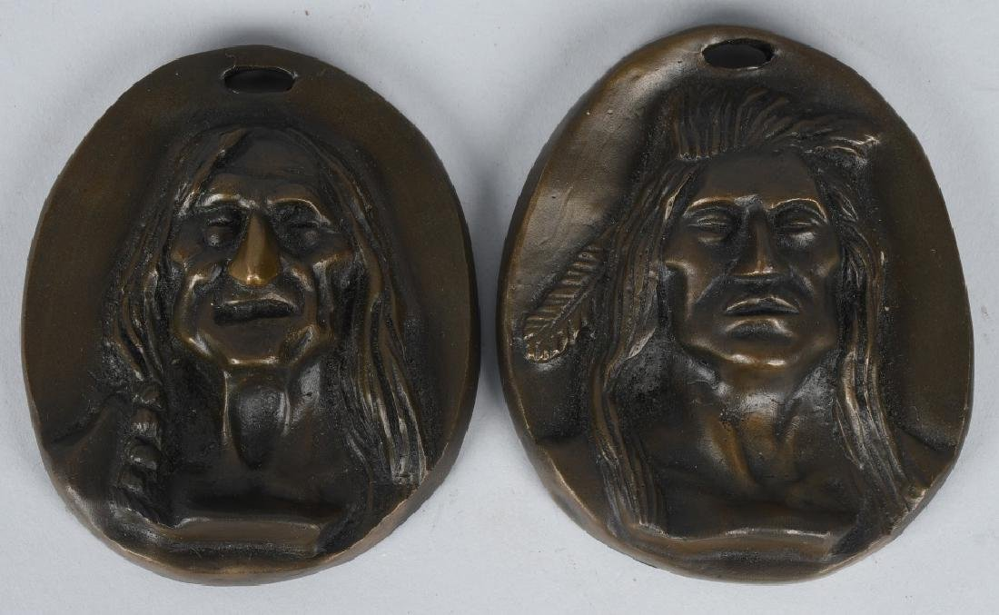 2-BRONZE INDIAN HEAD PLAQUES, C M RUSSELL