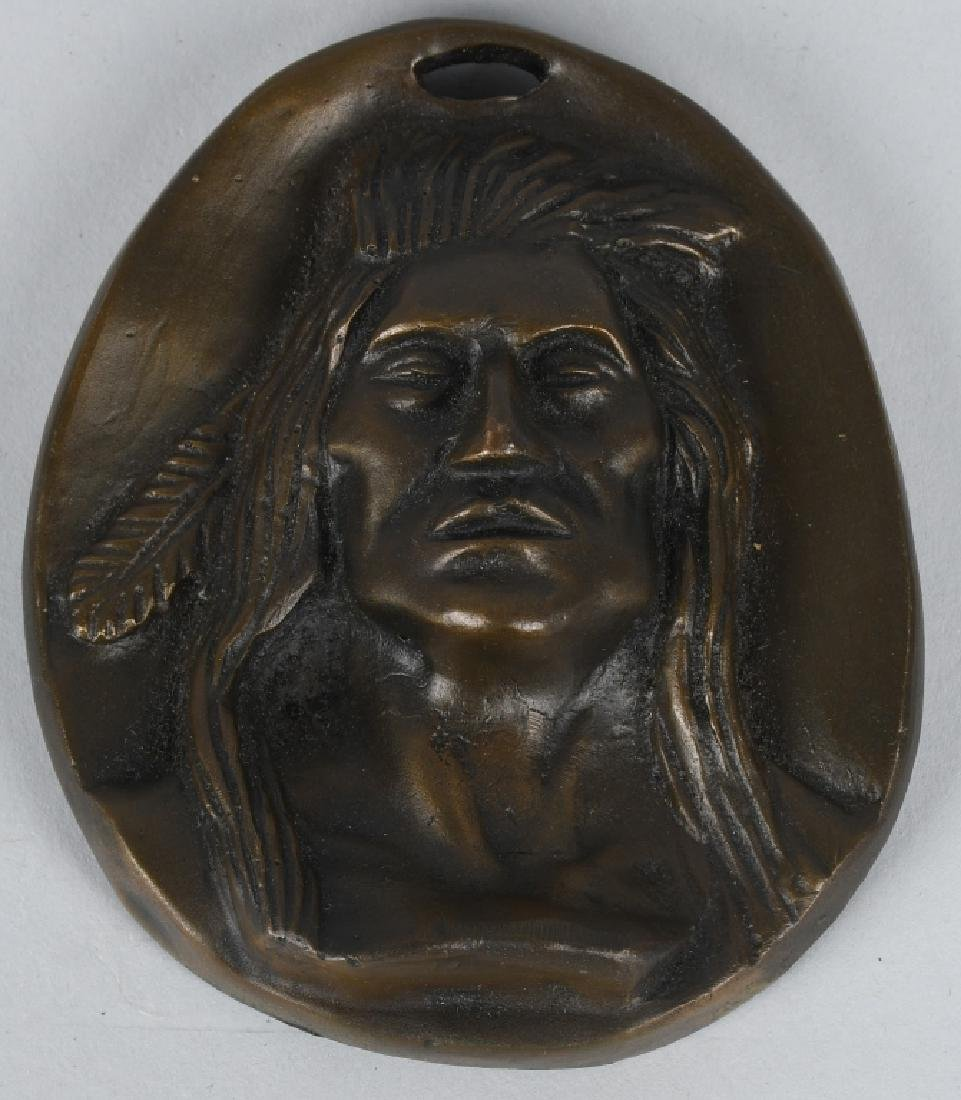 2-BRONZE INDIAN HEAD PLAQUES, C M RUSSELL - 2
