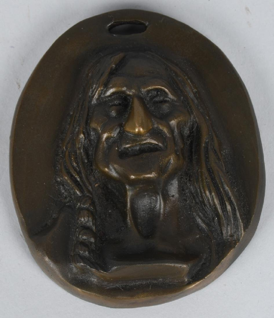 2-BRONZE INDIAN HEAD PLAQUES, C M RUSSELL - 4