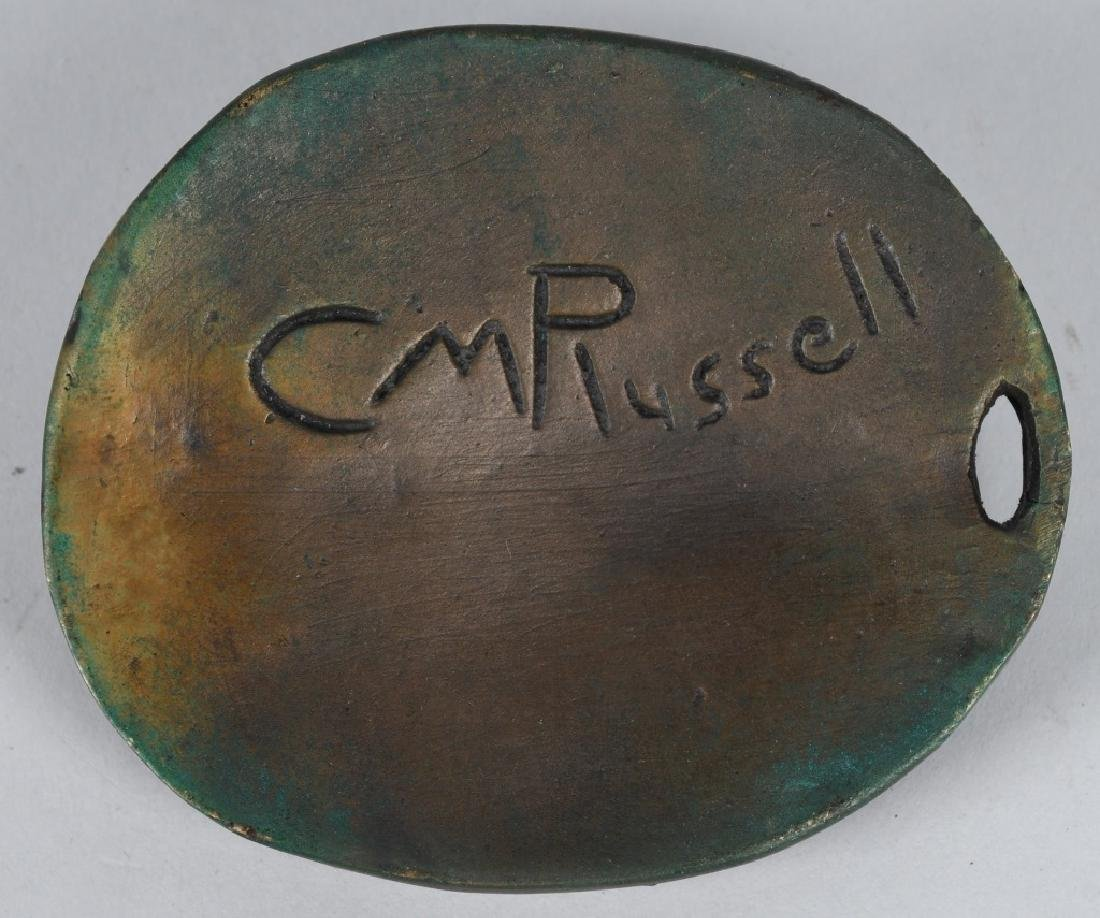 2-BRONZE INDIAN HEAD PLAQUES, C M RUSSELL - 5