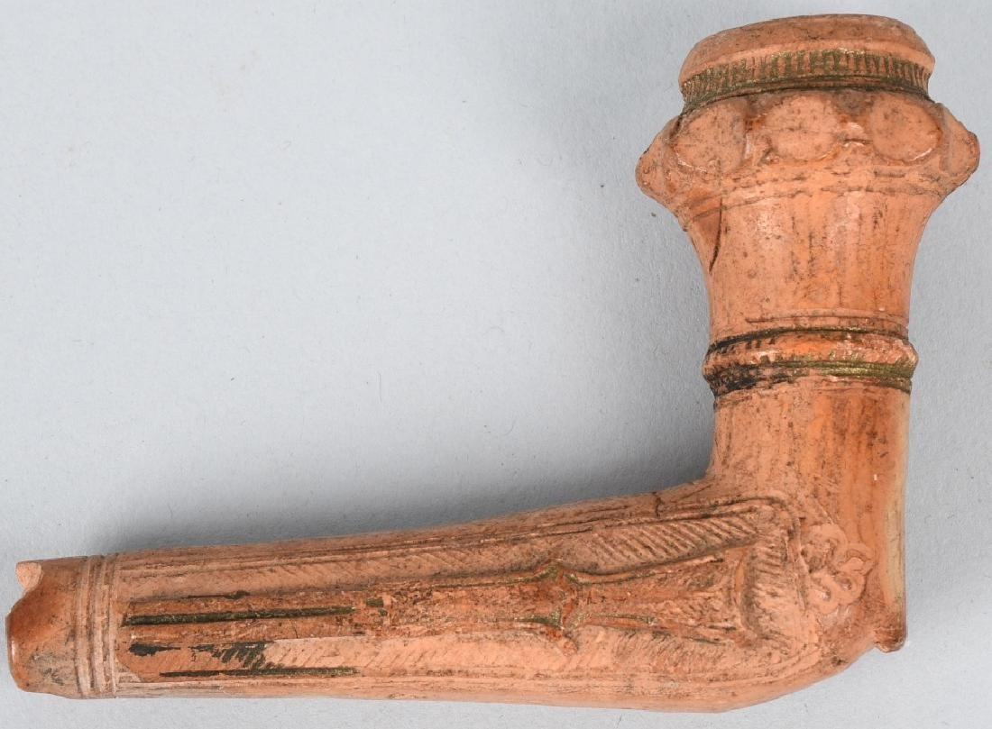 19th CENT. RED CLAY TRADE PIPE w/ SHOTGUN