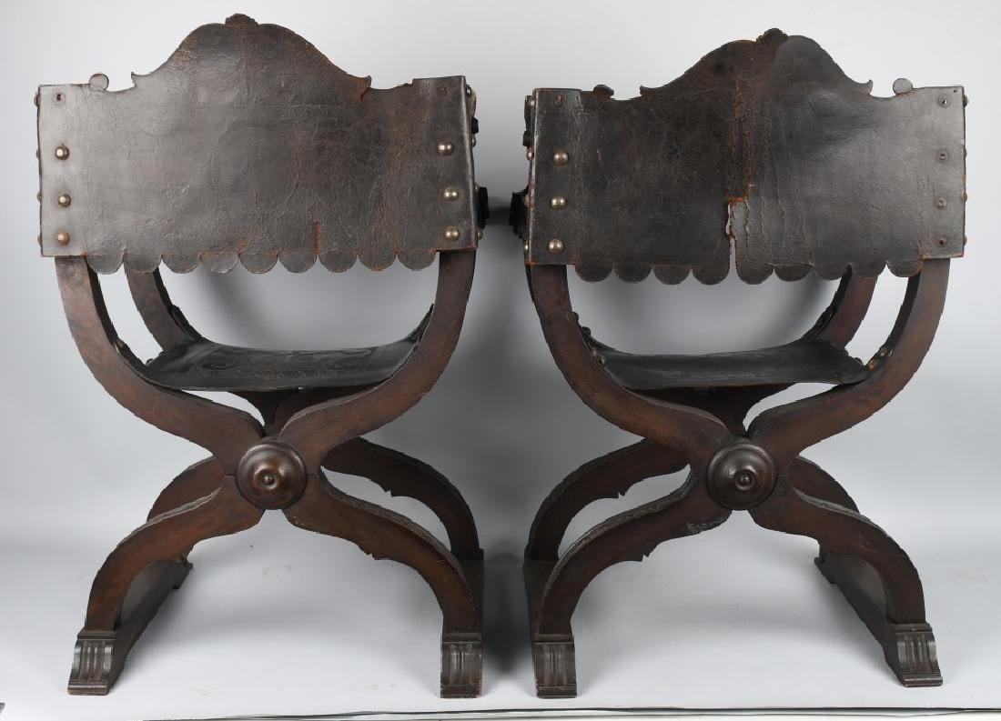 MATCHED PAIR CARVED FOLDING SAVONAROLA CHAIRS - 18