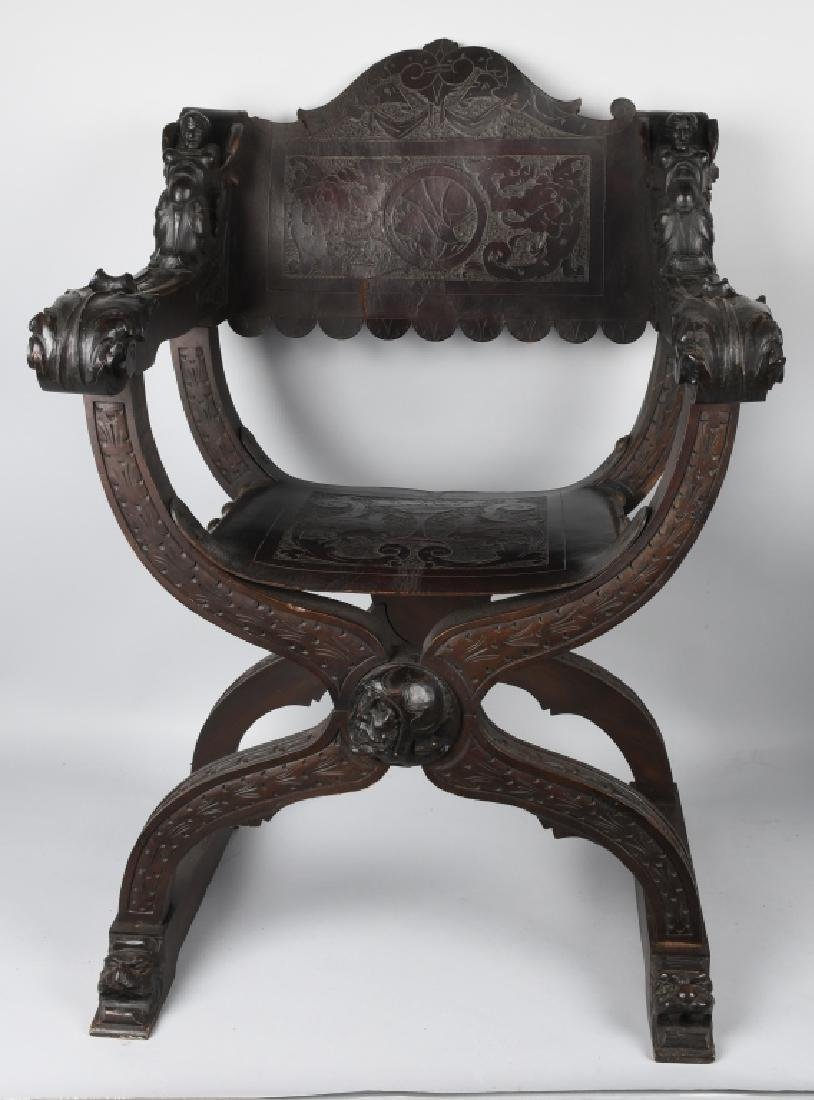 MATCHED PAIR CARVED FOLDING SAVONAROLA CHAIRS - 3