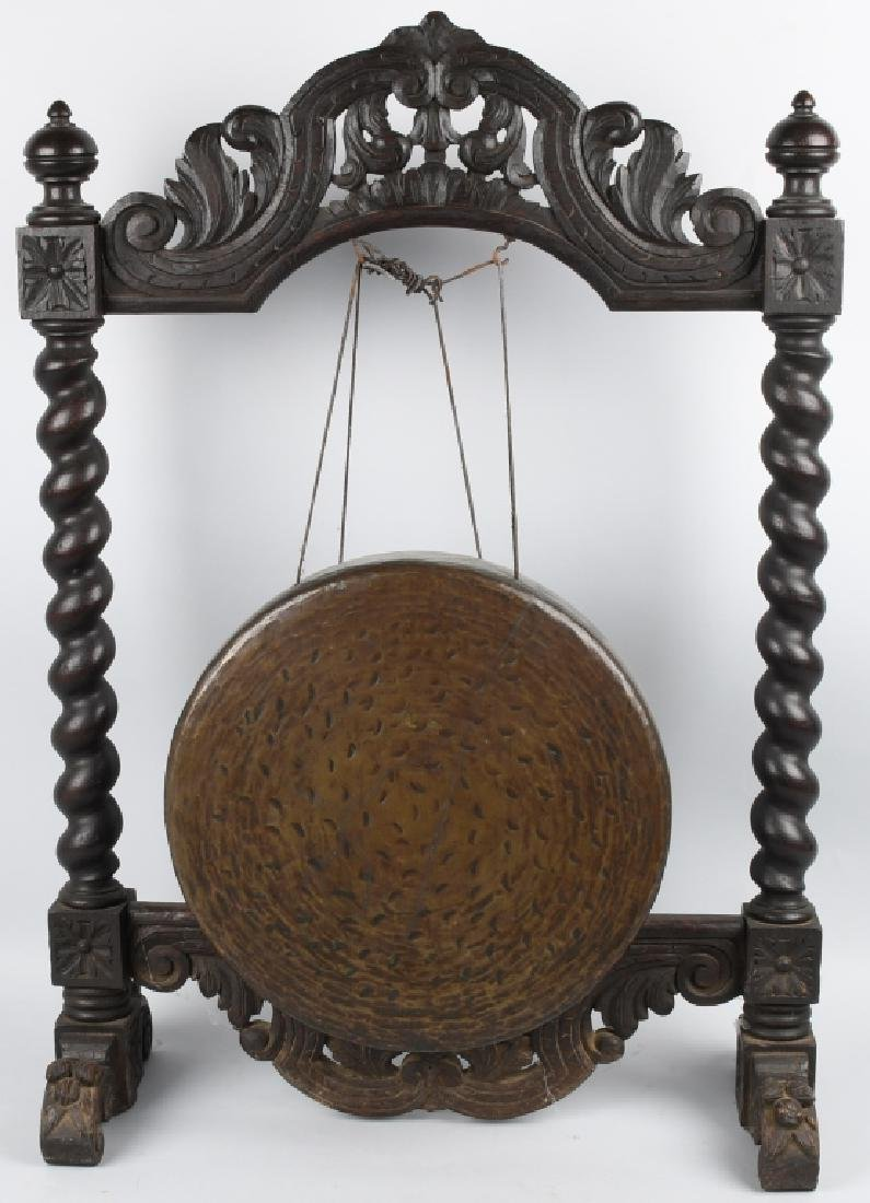 VINTAGE ASIAN ORNATE CARVED FRAME GONG