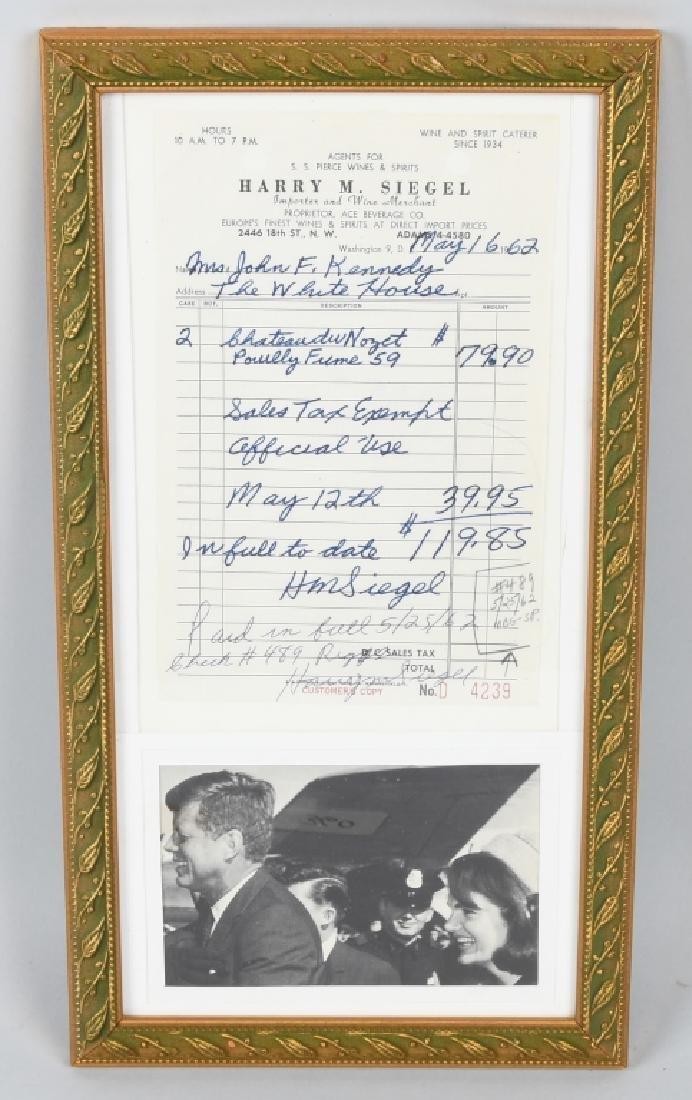 1962 JACQUELINE KENNEDY RECEIPT w/ COA