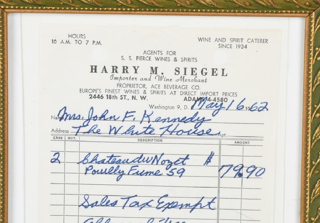 1962 JACQUELINE KENNEDY RECEIPT w/ COA - 2
