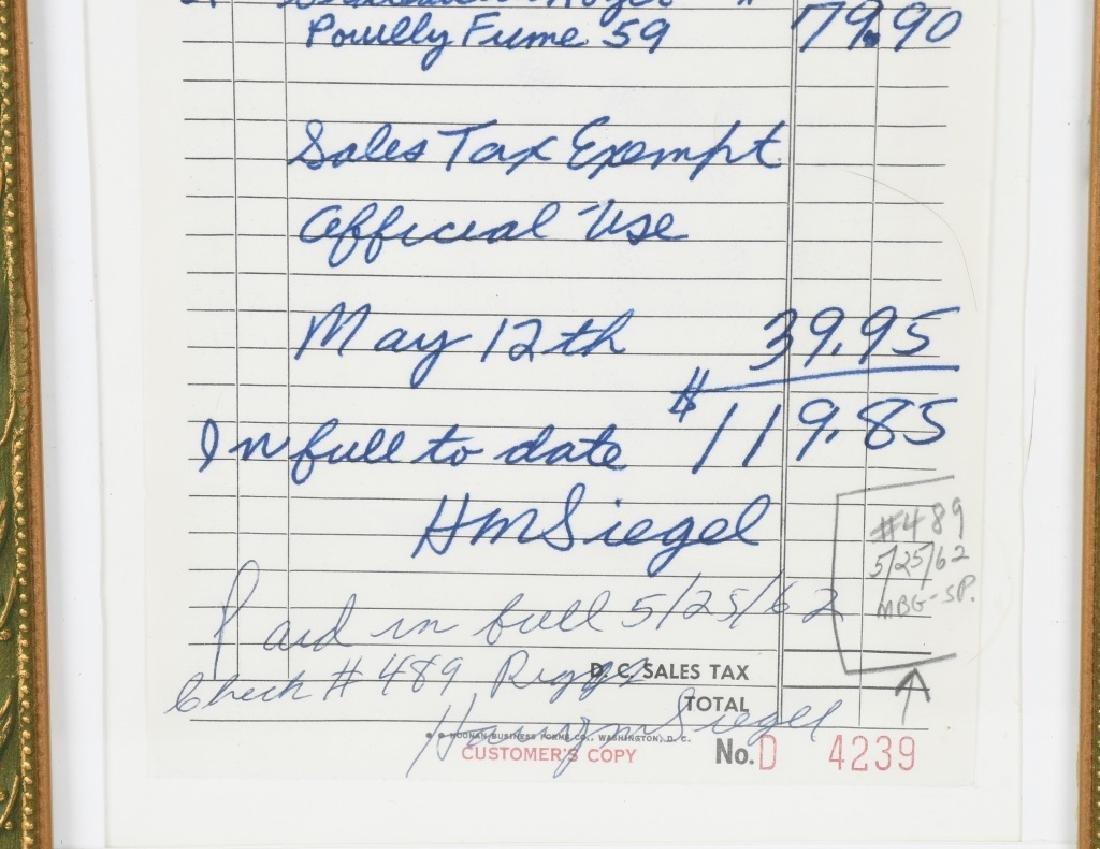 1962 JACQUELINE KENNEDY RECEIPT w/ COA - 3