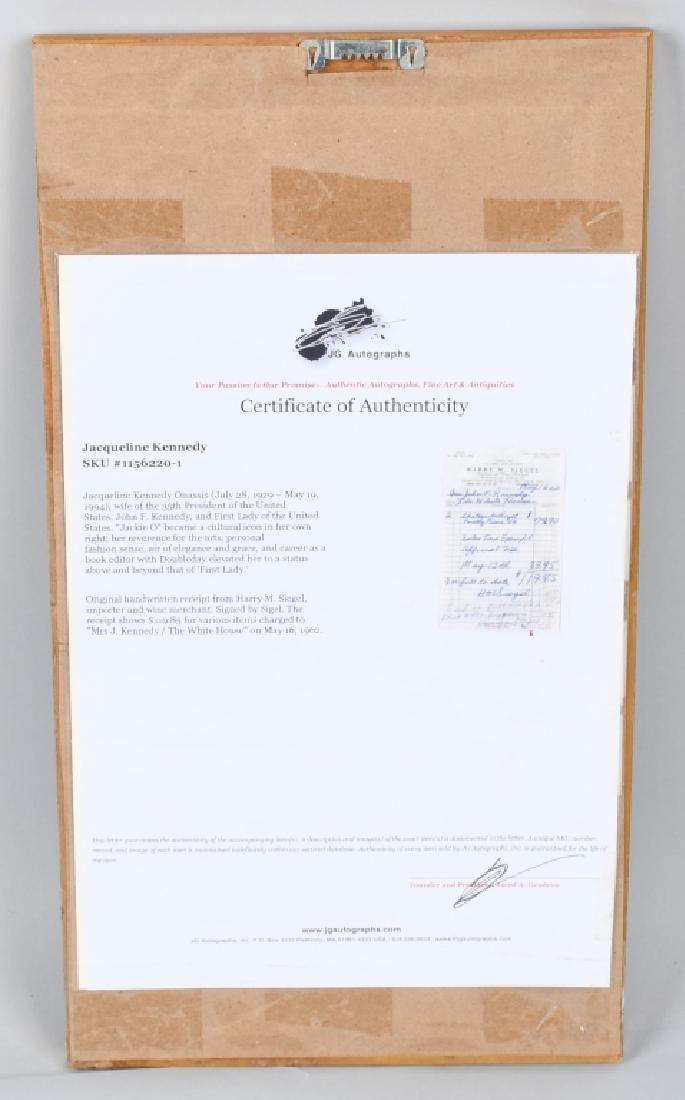 1962 JACQUELINE KENNEDY RECEIPT w/ COA - 5
