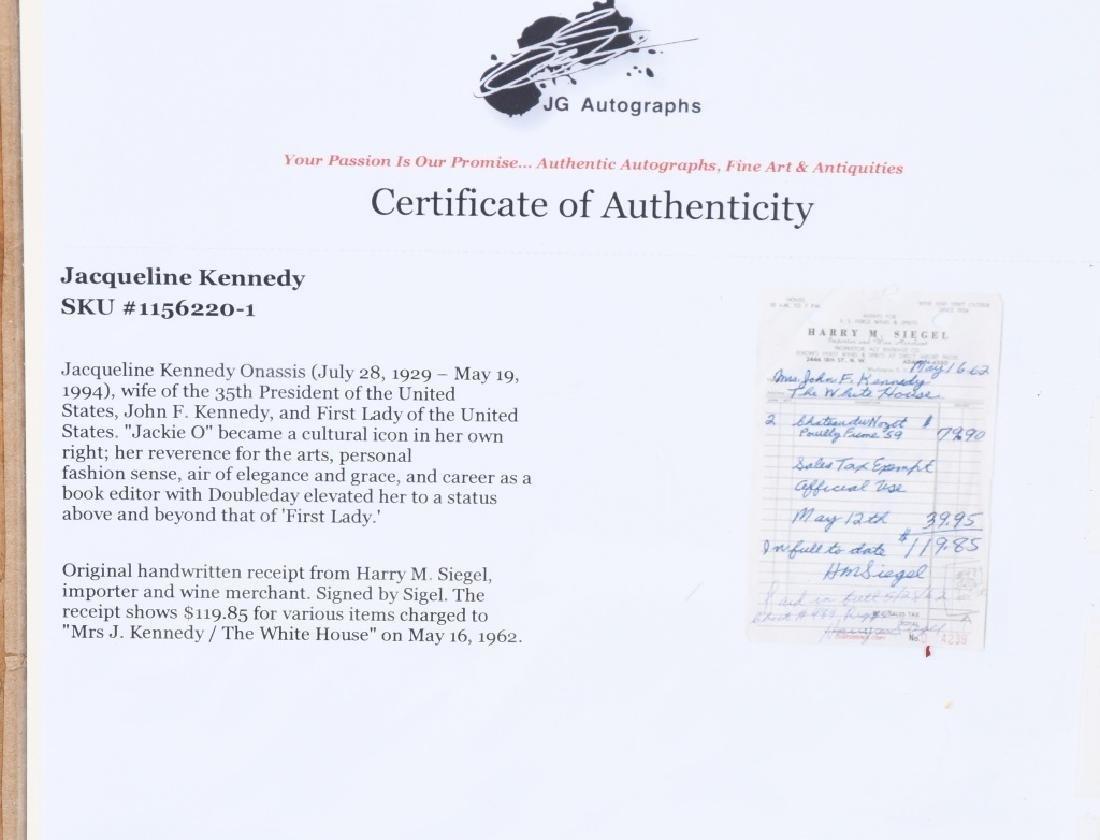 1962 JACQUELINE KENNEDY RECEIPT w/ COA - 6