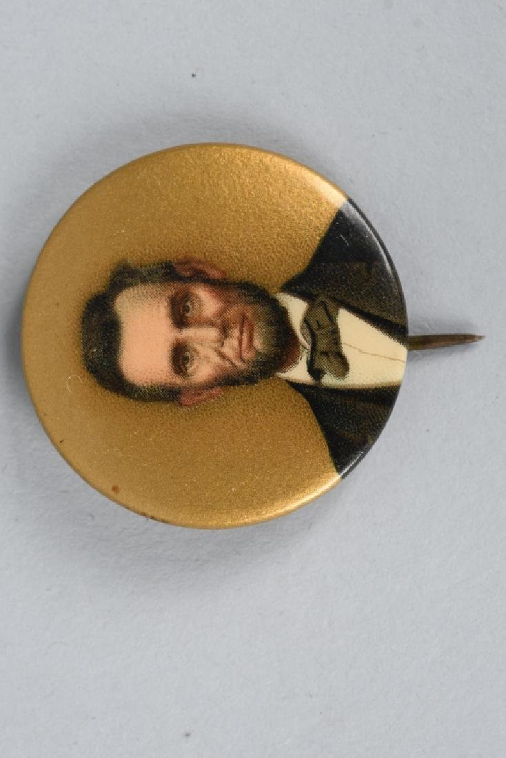 ABRAHAM LINCOLN PINBACK BUTTON & BOTTLE BANK - 2