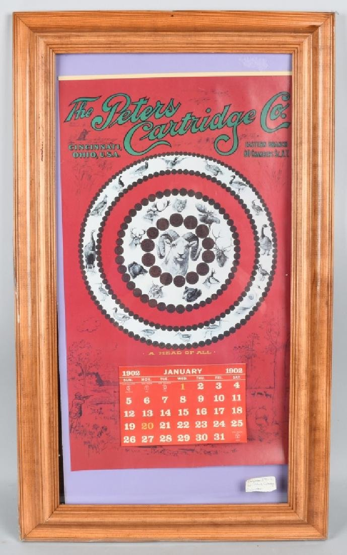 1902 PETERS CARTRIDGE CO. CALENDAR, FRAMED