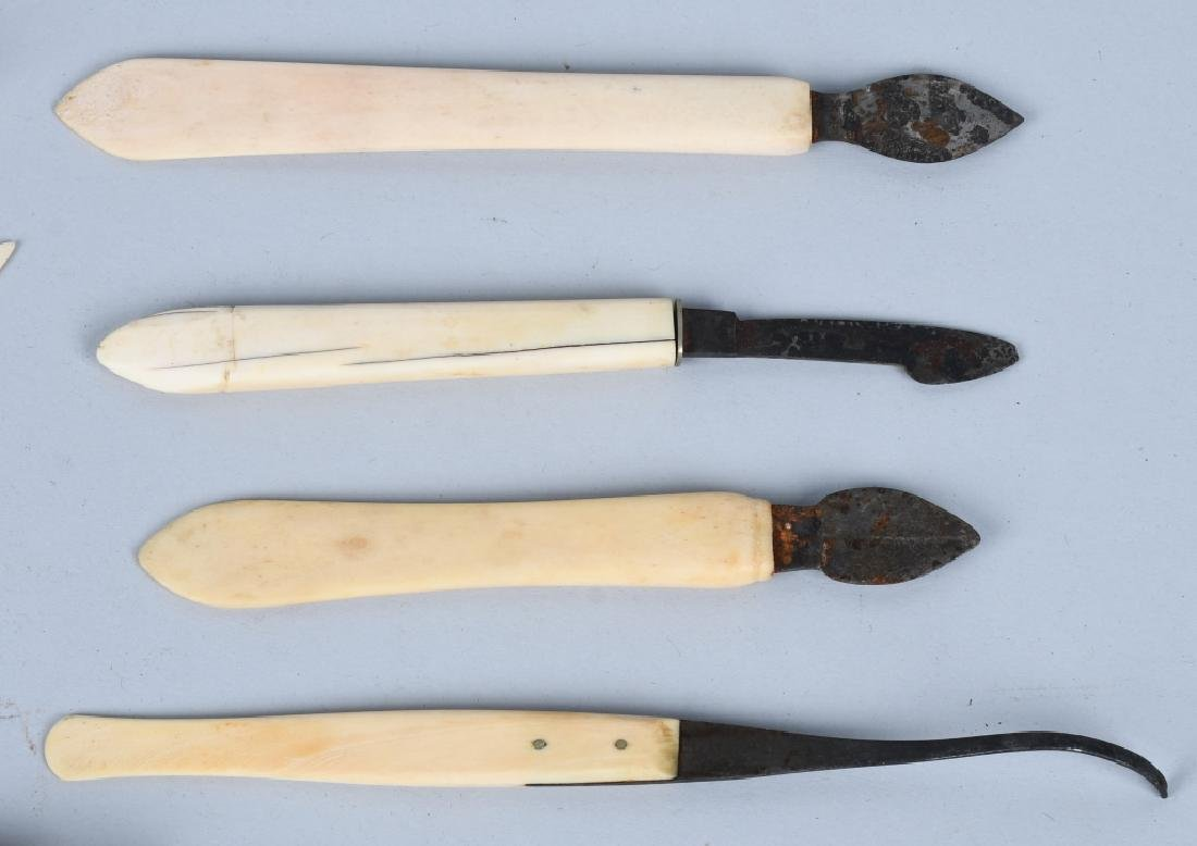 LARGE LOT of CARVED BONE SEWING ITEMS & MORE - 3