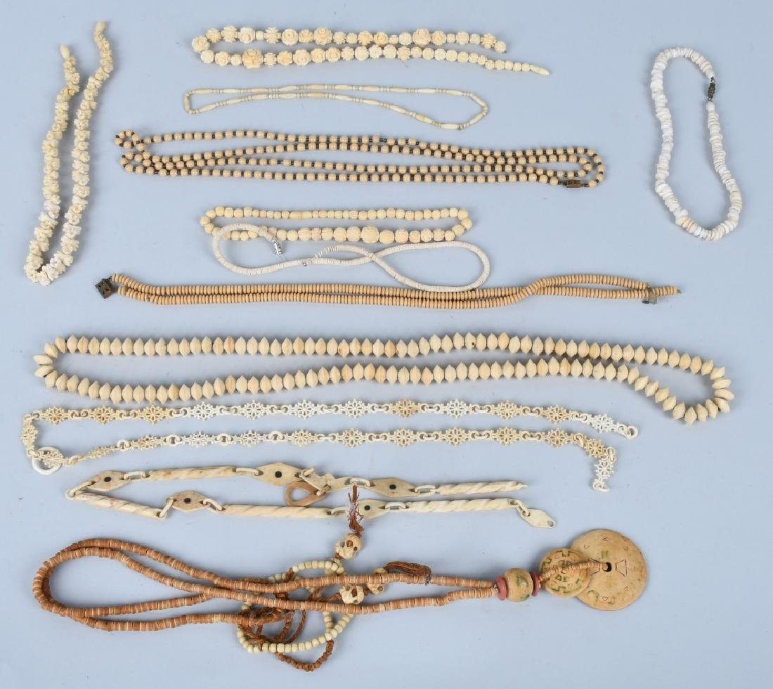 LARGE LOT of CARVED BONE NECKLACES