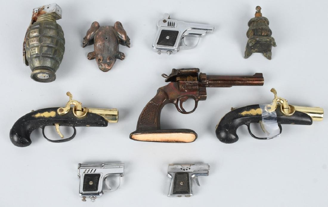 9-NOVELTY CIGARETTE LIGHTERS, GUNS, FROG & MORE