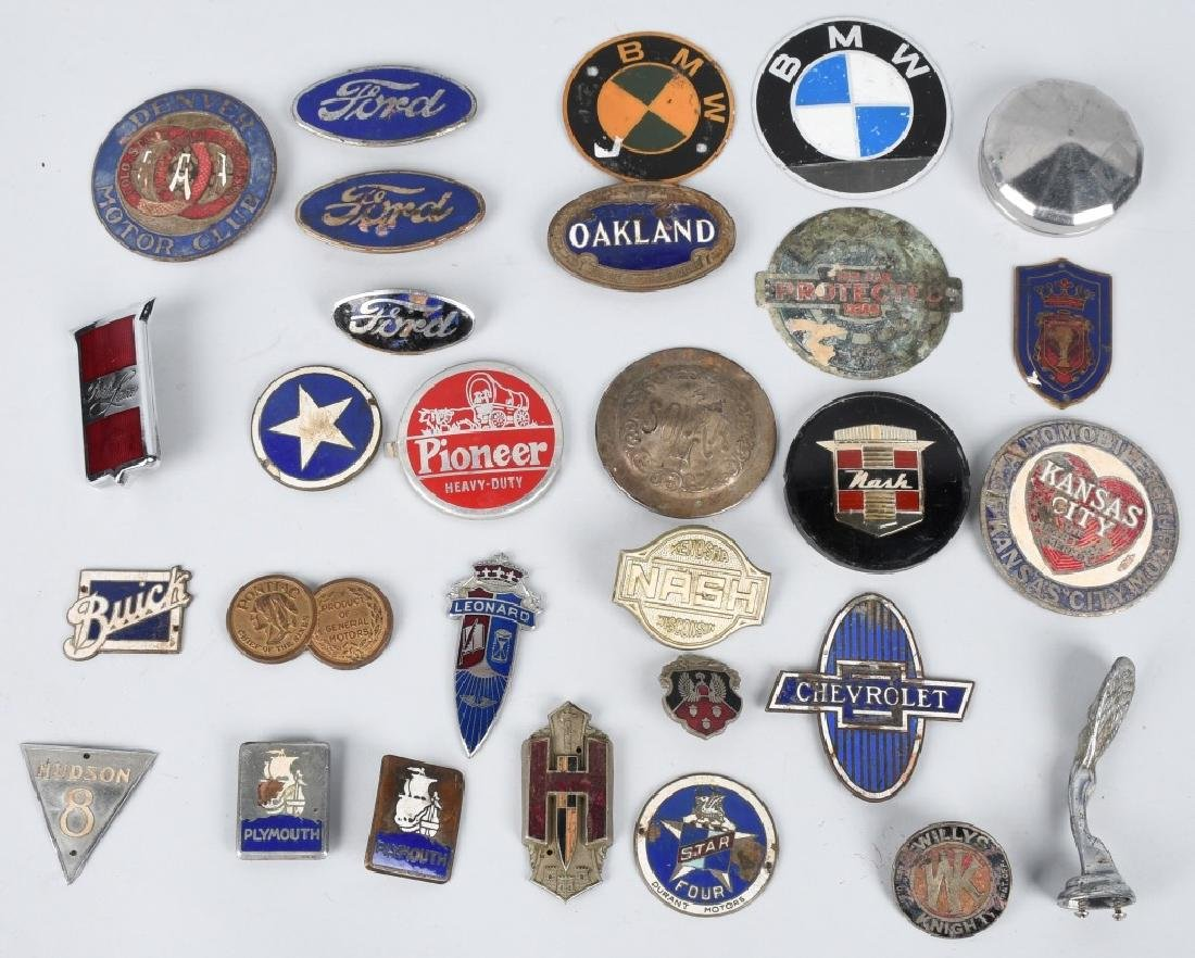 LARGE LOT of AUTOMOBILE PORCELAIN LOGOS & MORE