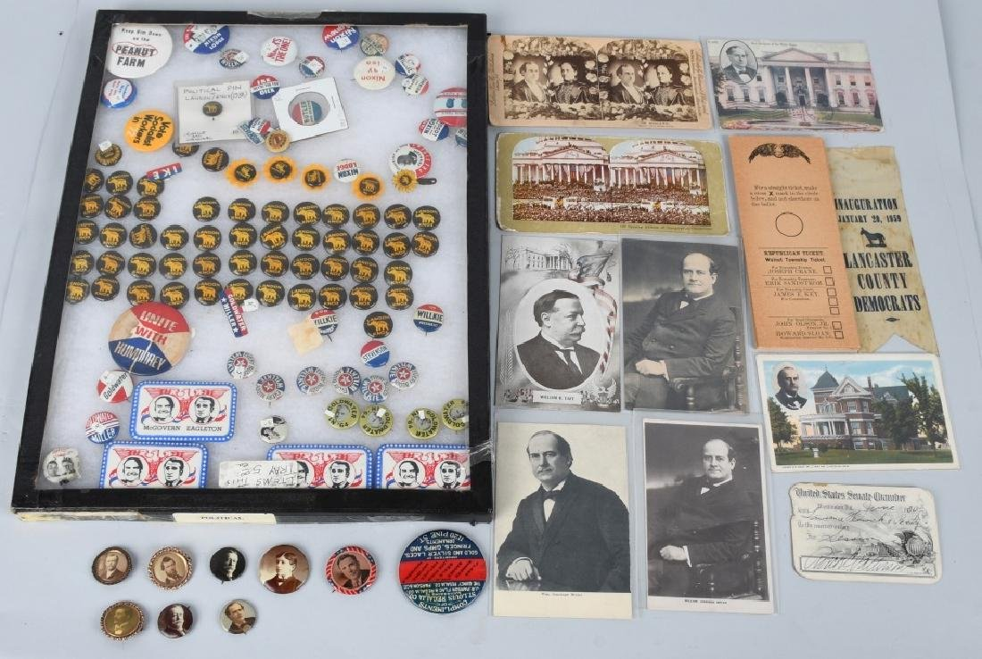 LARGE LOT of POLTICAL BUTTONS, POSTCARDS & MORE