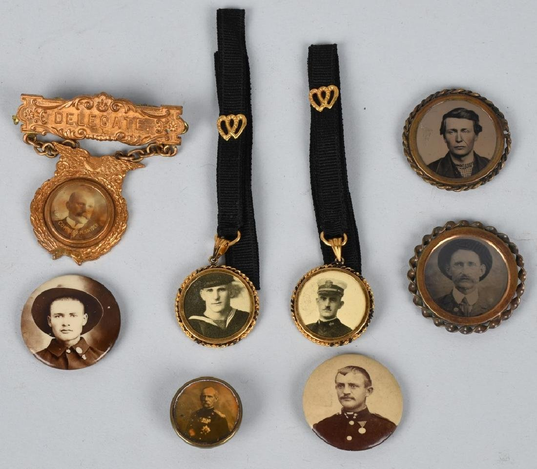 TINTYPE PHOTO PINS, MILITARY FOBS & MORE