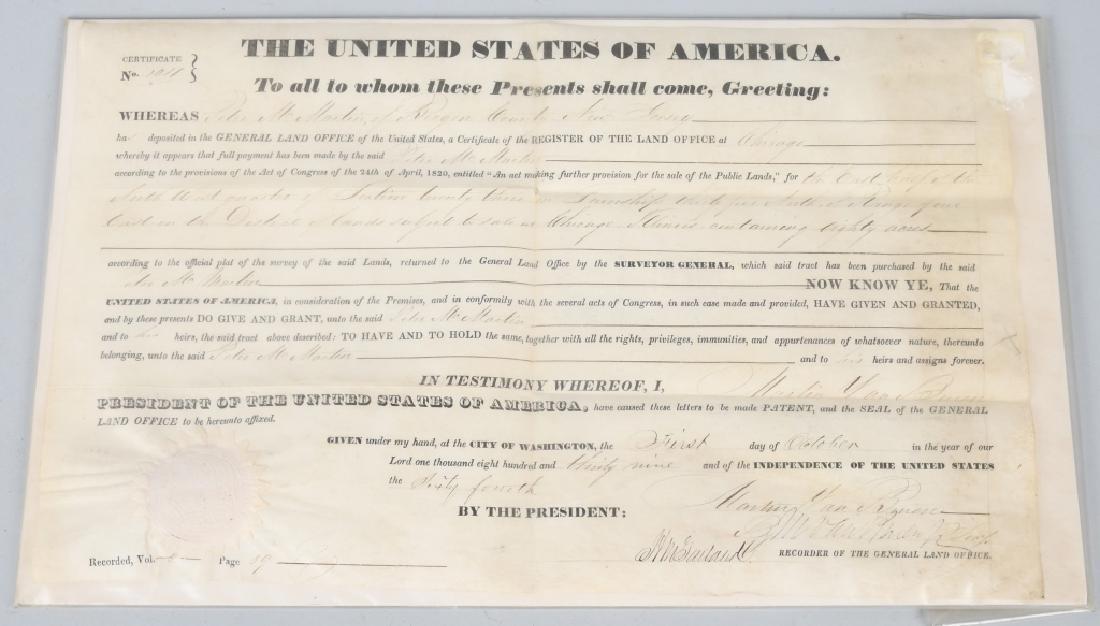 1839 UNITED STATES LAND GRANT, MARTIN VAN BUREN