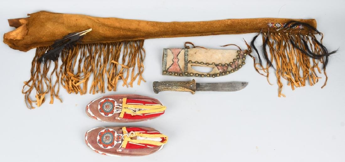 BEADED MOCCASINS. STAG KNIFE & MORE