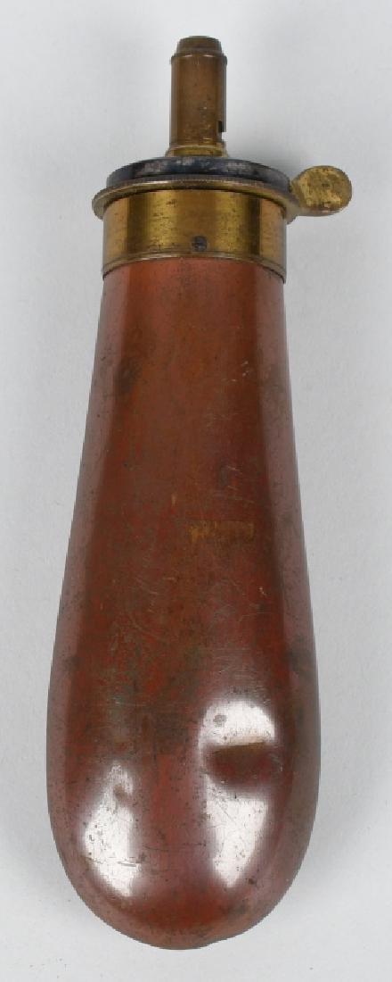 JAMES DIXON COPPER BAG GUNPOWDER FLASK - 2