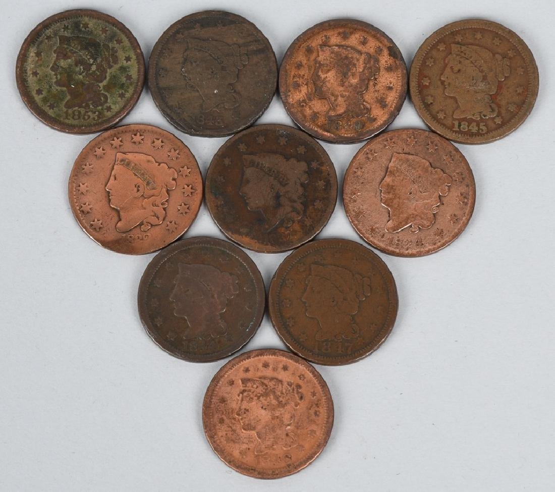 10- US LARGE CENTS 1822-1853