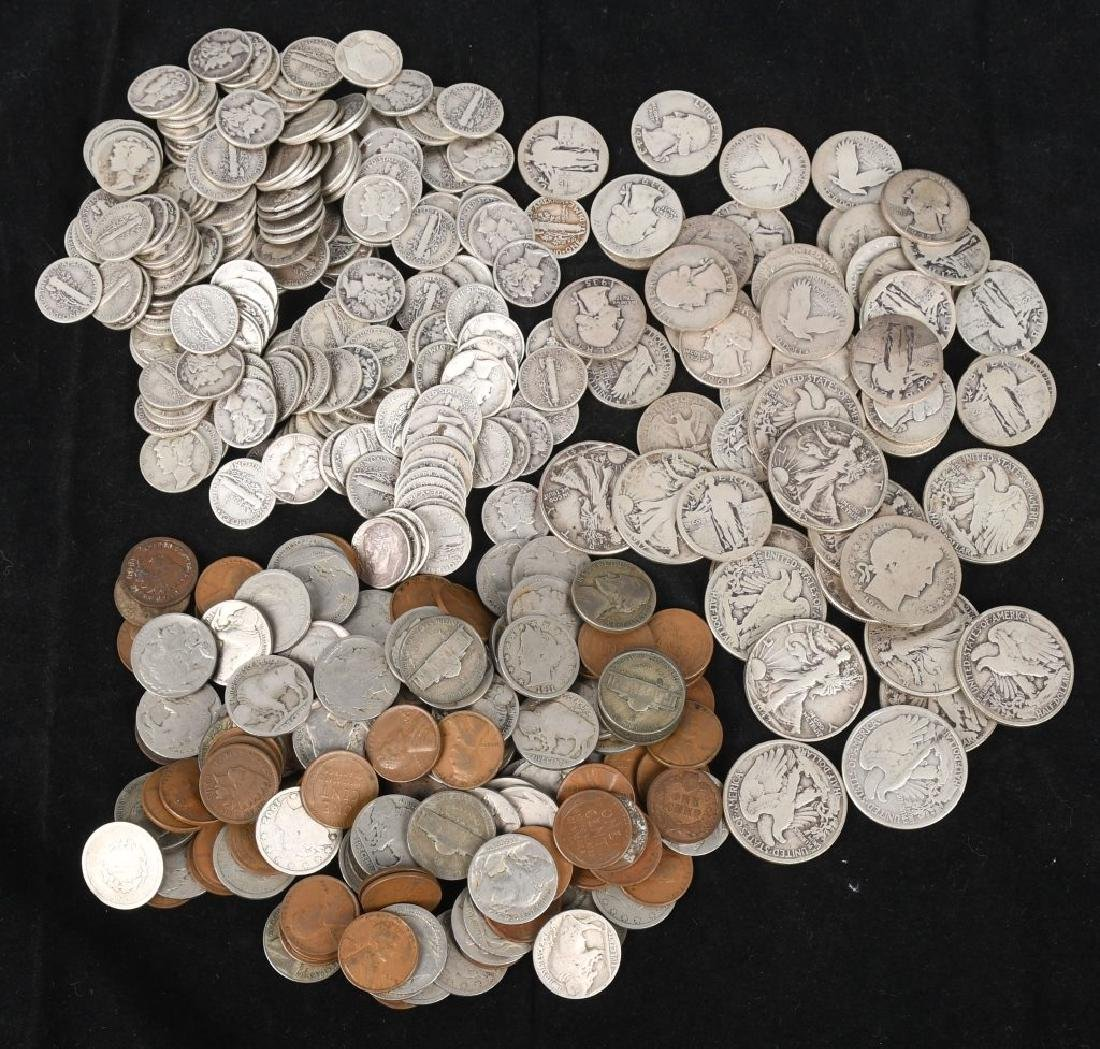 MIXED US PENNY NICKEL DIME QUARTER HALF SILVER LOT
