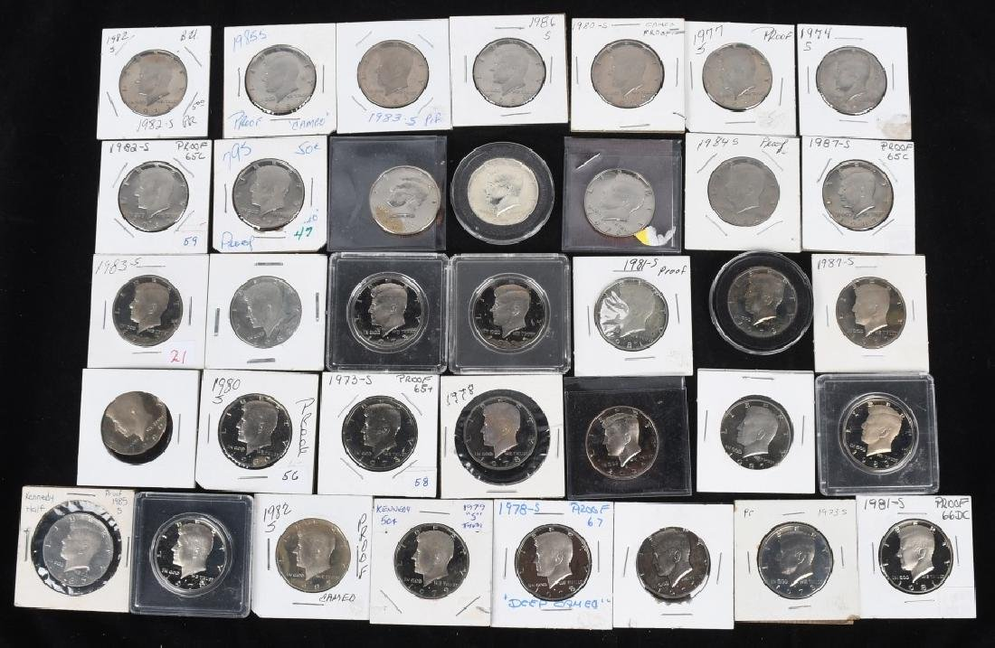 36-HIGH GRADE KENNEDY HALF DOLLARS, 1969-2006