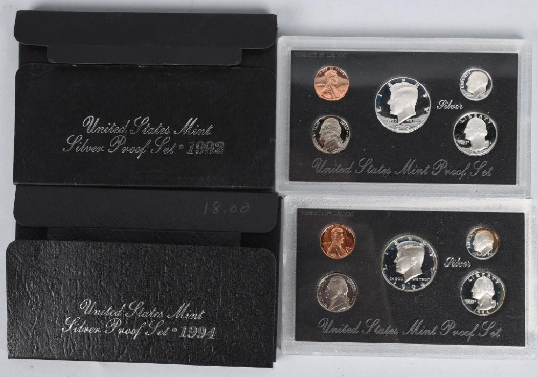 8-90% SILVER PROOF SETS, 1992-1996 - 2