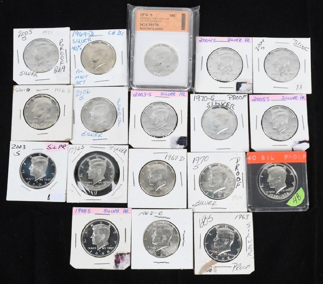 18-SILVER KENNEDY HALF DOLLARS, 1968-2006
