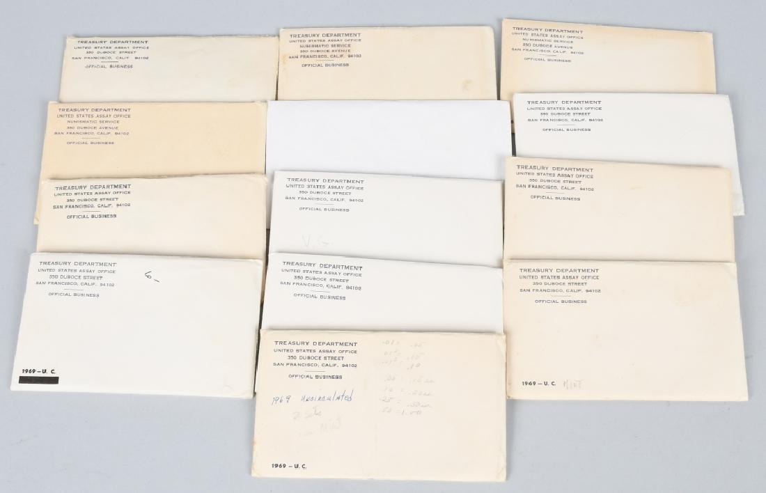13-40% SILVER U.S. MINT SETS, 1965-1969