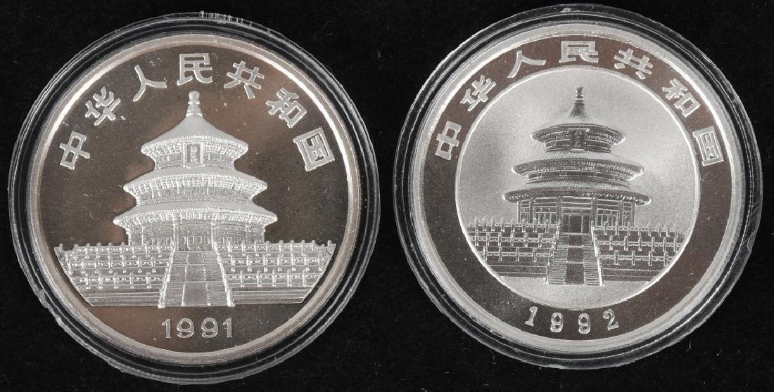 2- .999 CHINESE SILVER PANDA ROUNDS 1991 & 1992
