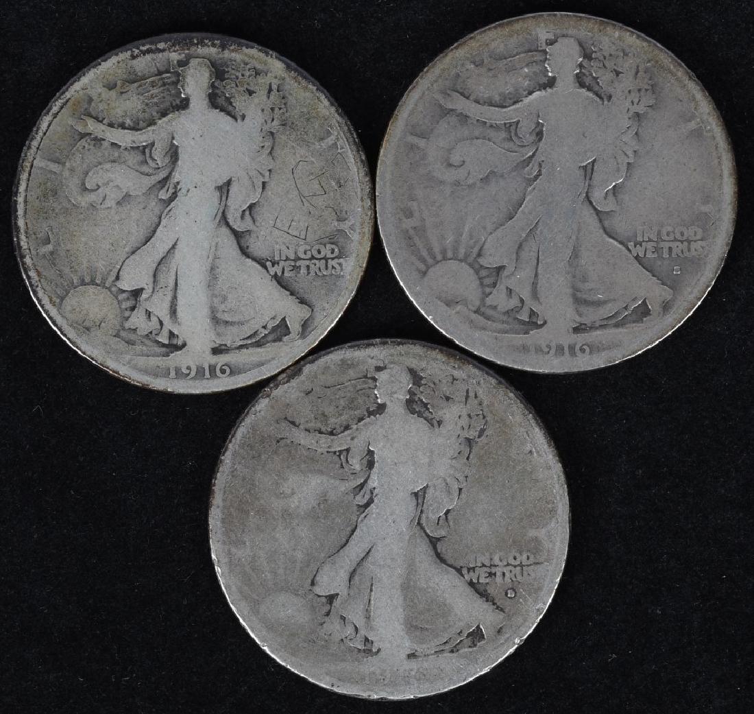 1916 P,D, & S WALKING LIBERTY HALF DOLLARS