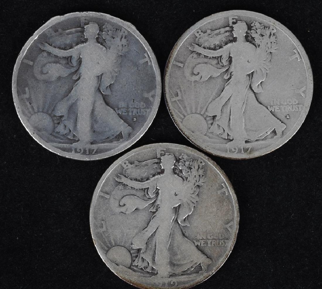 1917 OBV. D, & S, 1919 WALKING LIBERTY HALVES