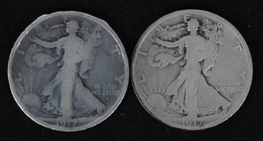 1917 OBV. D, & S, 1919 WALKING LIBERTY HALVES - 2