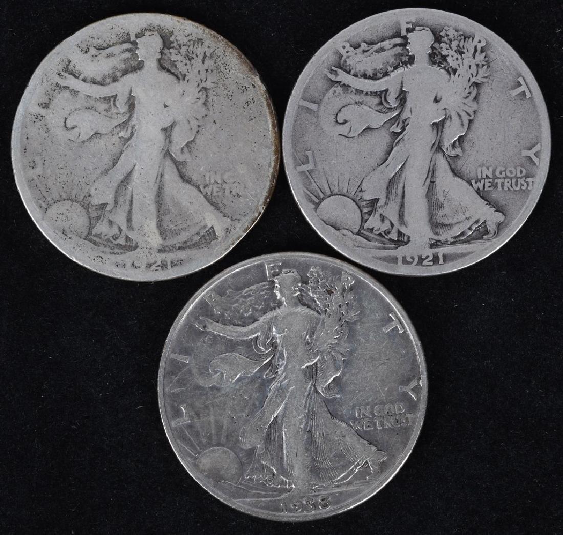 1921 P & S, 1938-D WALKING LIBERTY HALF DOLLARS