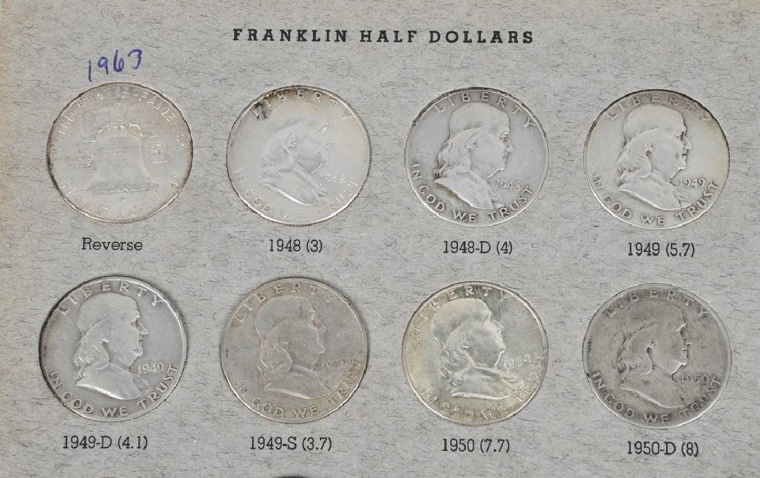 COMPLETE SET 90% FRANKLIN HALF DOLLARS, 36 COINS - 2