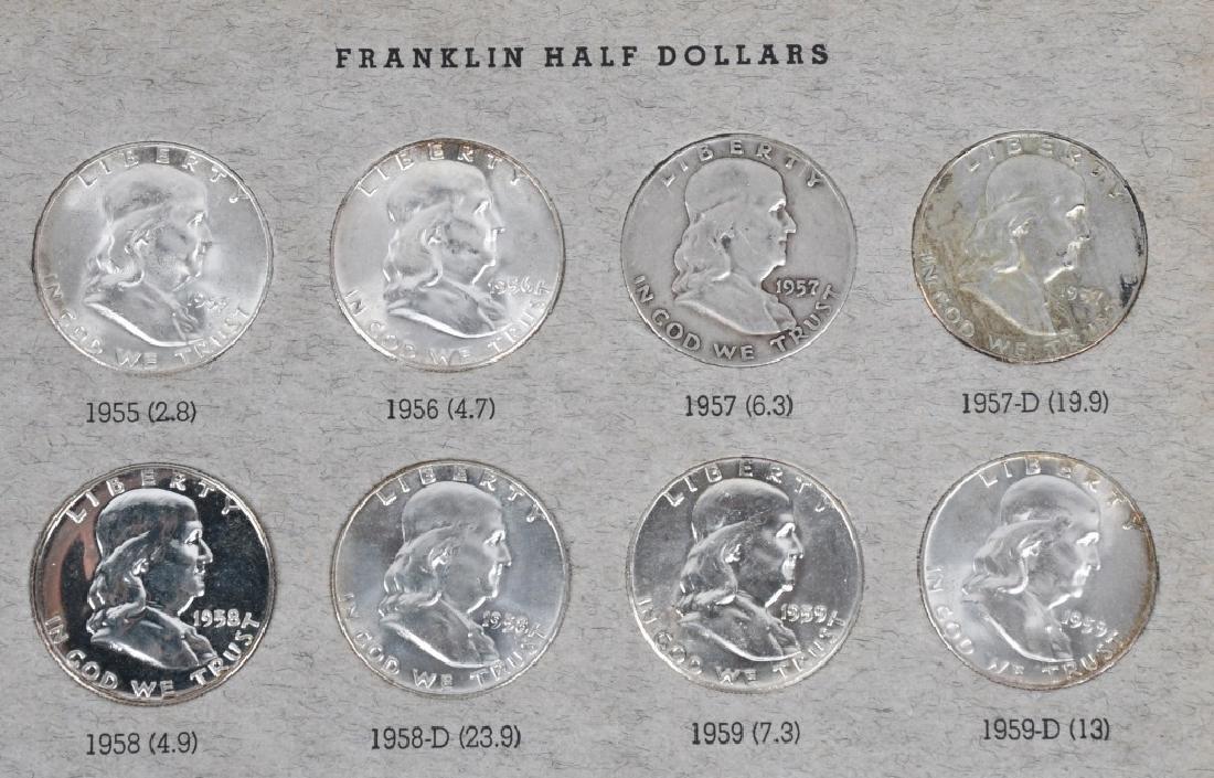 COMPLETE SET 90% FRANKLIN HALF DOLLARS, 36 COINS - 4