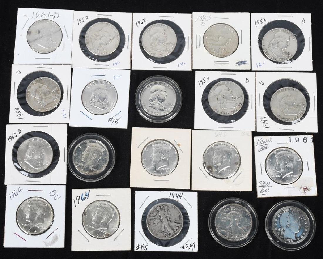 20-MIXED 90% SILVER HALF DOLLARS, 1908-1964