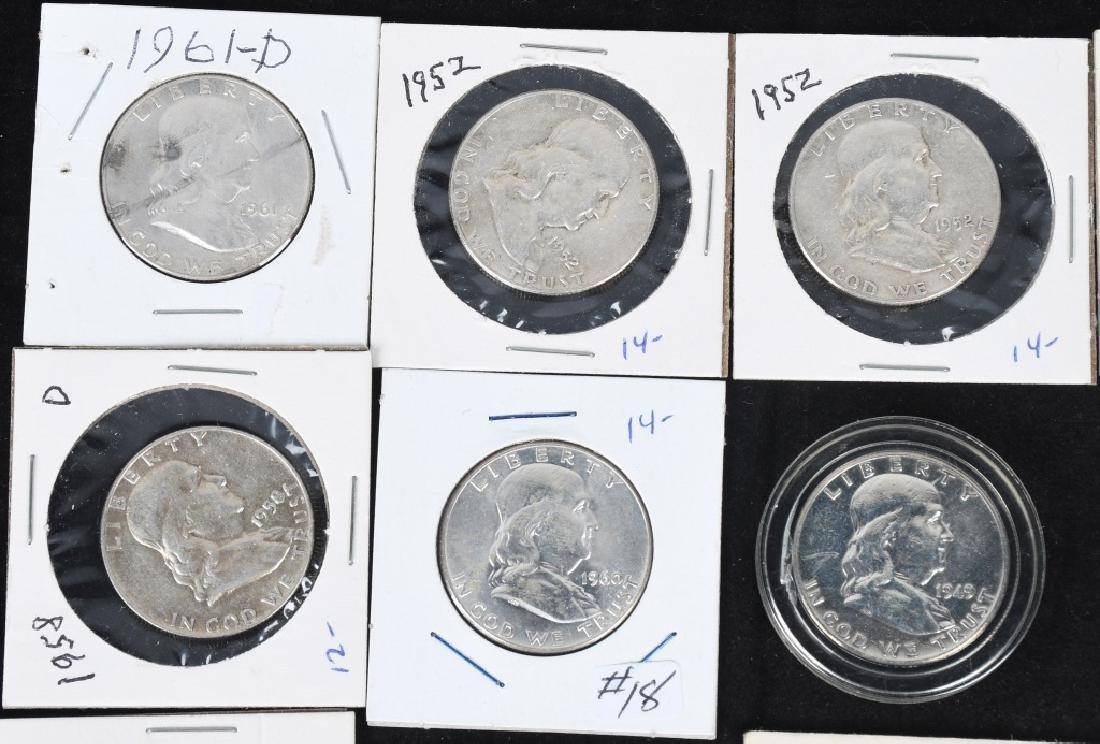 20-MIXED 90% SILVER HALF DOLLARS, 1908-1964 - 3