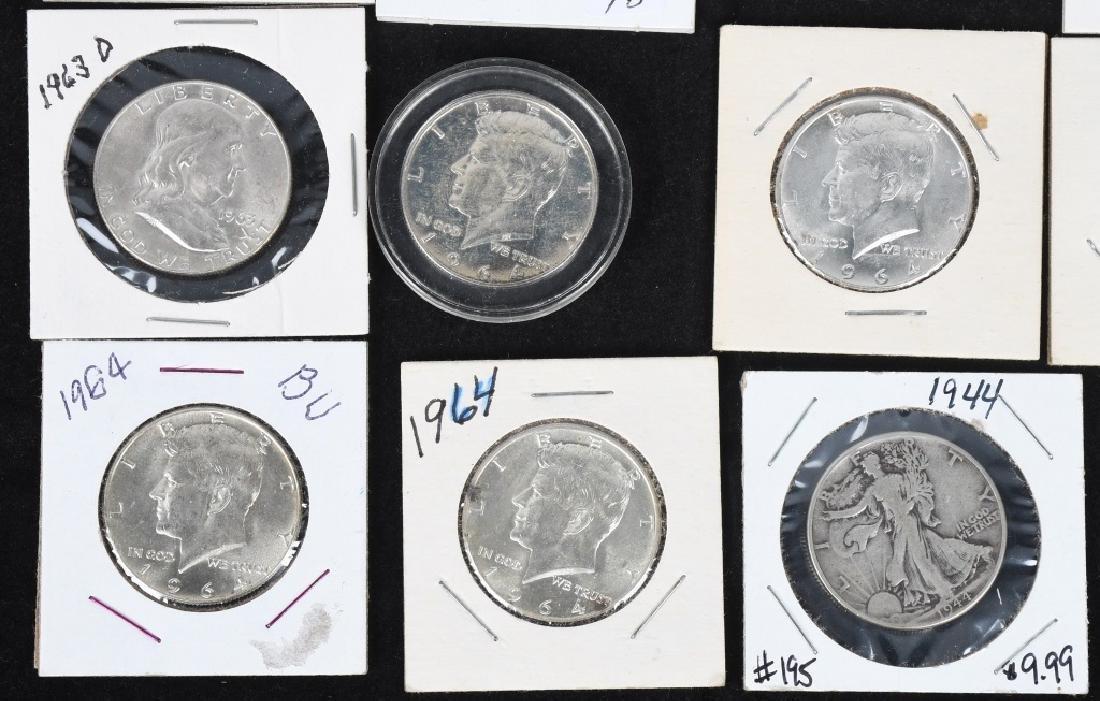 20-MIXED 90% SILVER HALF DOLLARS, 1908-1964 - 4