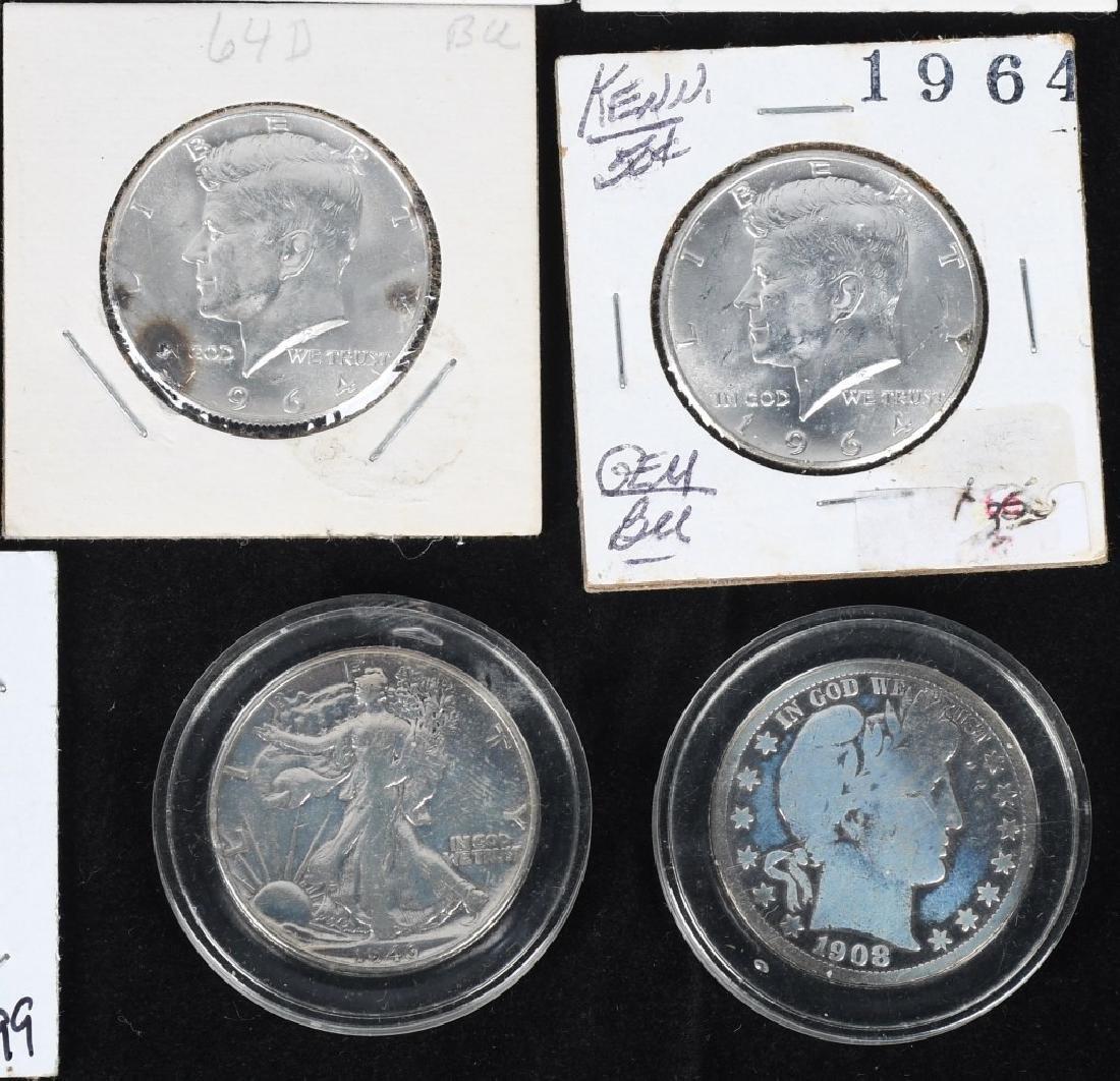 20-MIXED 90% SILVER HALF DOLLARS, 1908-1964 - 5