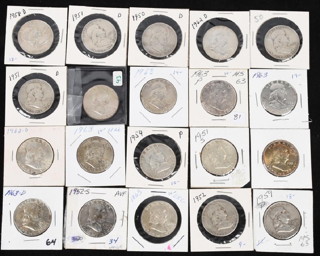20- 90% SILVER FRANKLIN HALF DOLLARS, 1950-1963