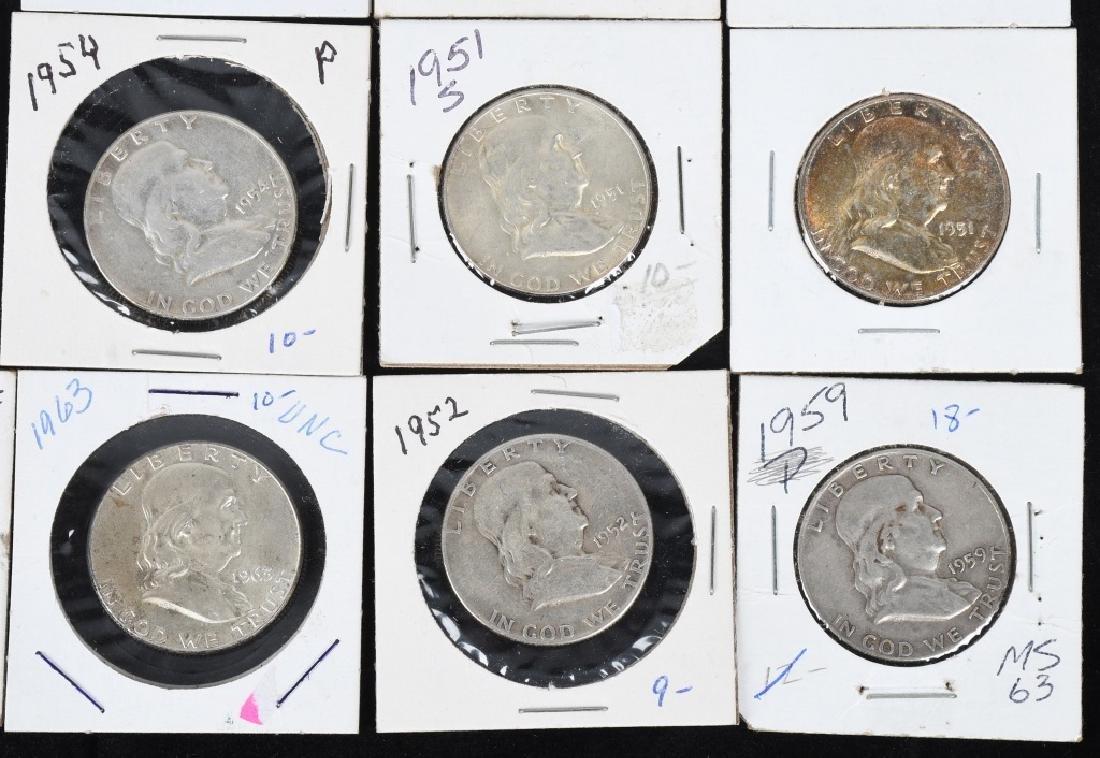20- 90% SILVER FRANKLIN HALF DOLLARS, 1950-1963 - 4