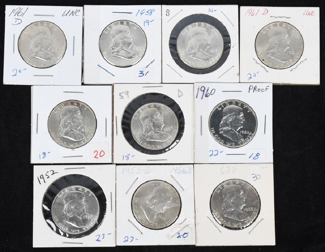 10-HIGH GRADE 90% SILVER FRANKLIN HALF DOLLARS