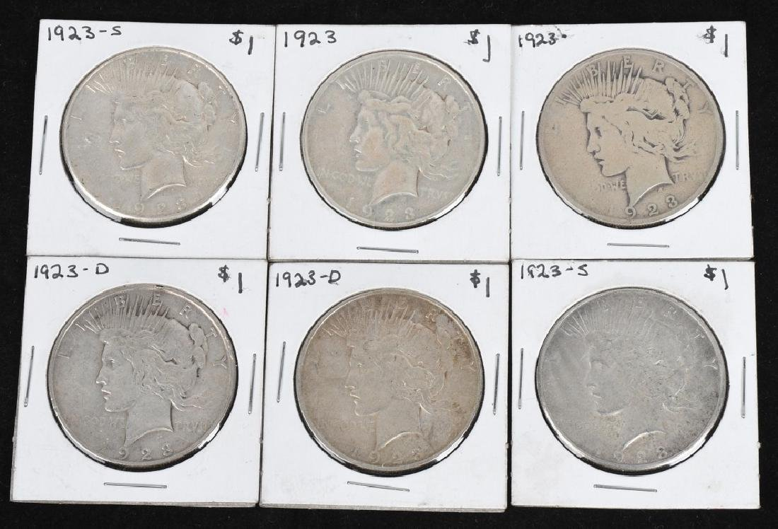 6- 1923 US PEACE SILVER DOLLARS